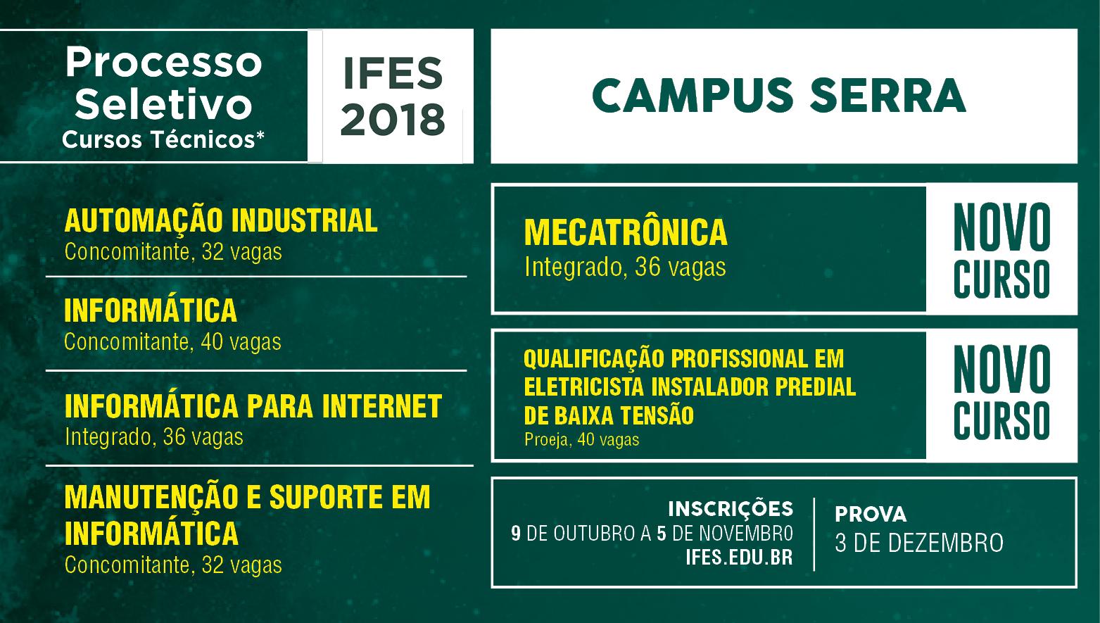 Campus Serra abre vagas em cursos técnicos e de especialização técnica